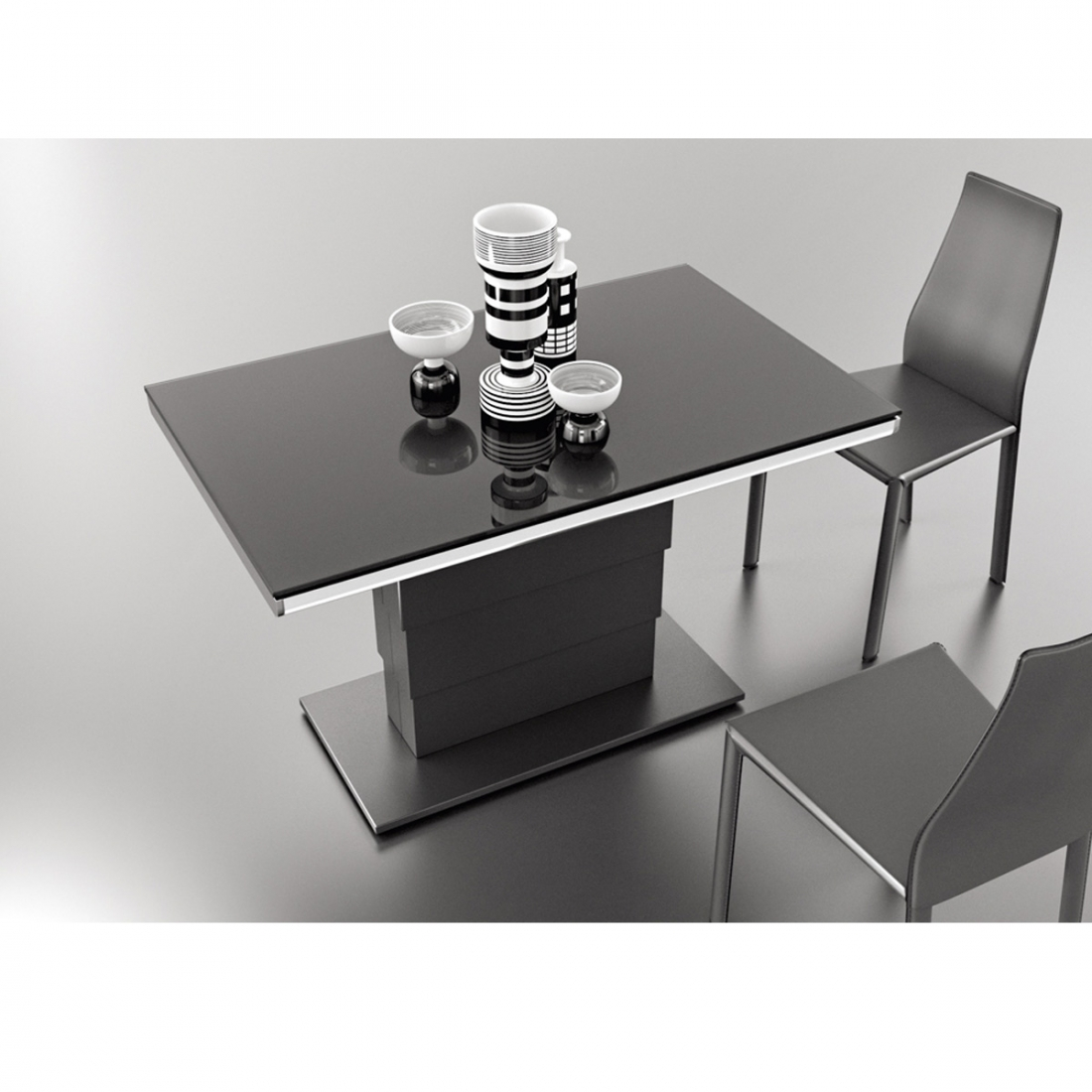 Table modulable design ares glass acier deco maison design for Table exterieur modulable